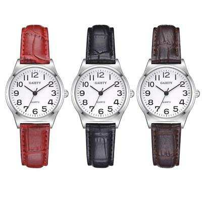 Fashion  Casual PU Leather Quartz Arabic Number Women Lady Wristwatch Watch Gift