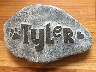Pet memorial handcarved into natural stone, personalised urn name dog cat paw