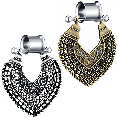 Pair of Bohemian Pendant Stainless Steel Ear Tunnels Double Flared Plugs Gauges