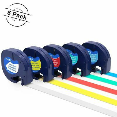 5PK Compatible With Dymo LetraTag Plastic 91331 1/2 Label Tape Laminated Refills