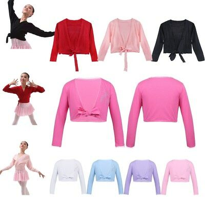 Girls Children Ballet Cotton Front Knot Top Wrap Dance Knit Cardigan Costume