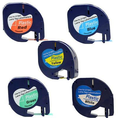Compatible For Dymo LetraTag Plastic 91331 12mm Label Tape 5PK Laminated Refills