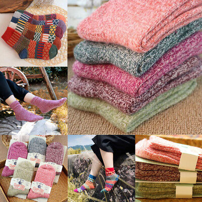 USA 5 Pairs Womens Wool Cashmere Thick Sock Lady Soft Casual Winter Socks Xmas
