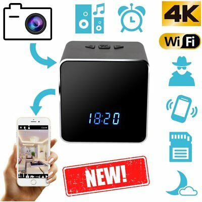 4K WIFI Speaker Nanny Cam Alarm Clock IR Security Camera HD Motion Detection