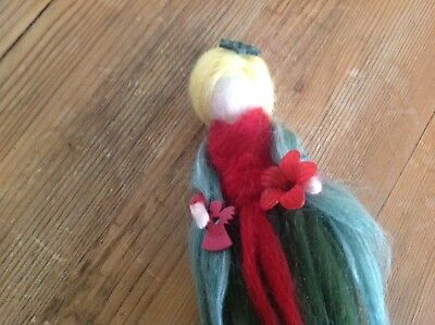 Stunning Needle felted Fairy handcrafted by me, gorgeous red/green colours...