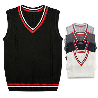 Mens Casual Knit Vest V Neck Sweater Sleeveless Vintage Jumper Pullover Tops