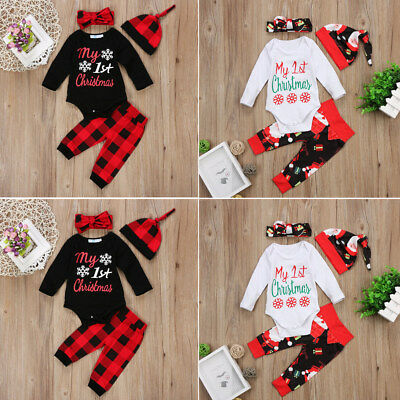 f6049eacb 2018NEW NEWBORN BABY Boy Girl My 1st Christmas Clothes Romper Pants ...