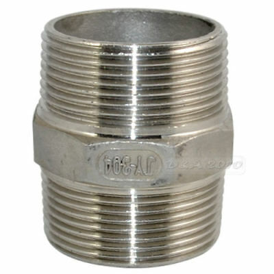 "1-1/2"" Male to Male Hex Nipple Steel SS 304 Threaded Pipe Fittings NPT megairon"