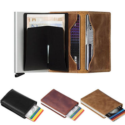 Womens Mens Leather Credit Card Holder RFID Blocking Pop-up Wallet Money Clip