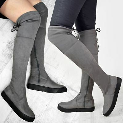 Womens Ladies Flat Skater Thigh High Over The Knee Boots Stretch Casual Fitted