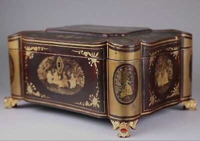 19th Century Chinese Lacquer Tea Caddy Fitted with Pewter Canisters