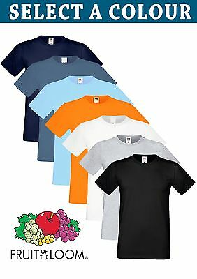 Men's 100% Cotton  T-Shirts Plain Fruit Of The Loom Tee  Short Sleeves Tshirt