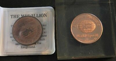 2 x 1988 WORLD EXPO MEDALLIONS 1 IN PERSPEX PAPER WEIGHT 1 IN DISPLAY WALLET