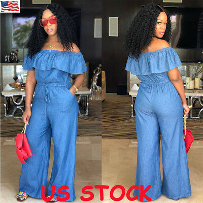 Women Denim Jeans Jumpsuit Off Shoulder Playsuit Overalls Trousers Rompers S-2XL