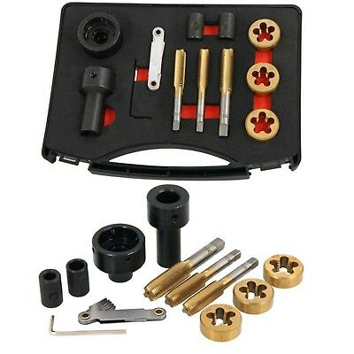 12pcs Tap & Die Set For Wheel Studs & Nuts Rethreads Cleans Restore Re-cuts