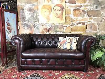 RARE~Vintage Leather Chesterfield 2 Seater Lounge Chair~Sofa~Button Bottom~