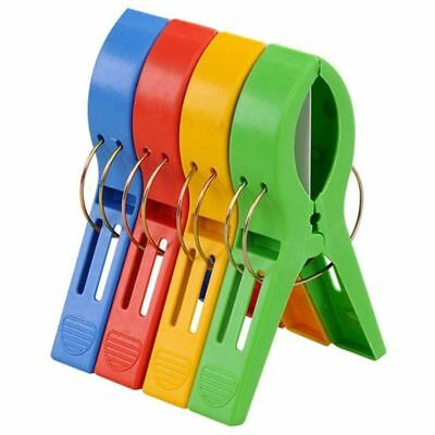 Pack of 4 Large Bright Colour Plastic Beach Towel Pegs Clips to Sunbed E1C1