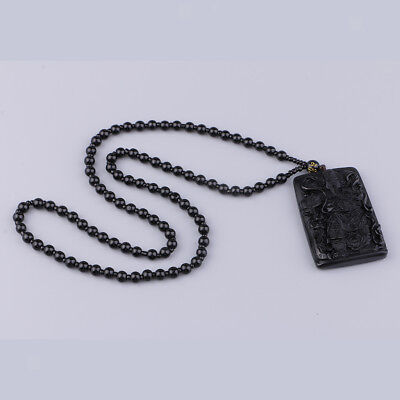 Handmade Black Obsidian Feng Shui Wishes Bead Drop Necklace Lucky Pendants