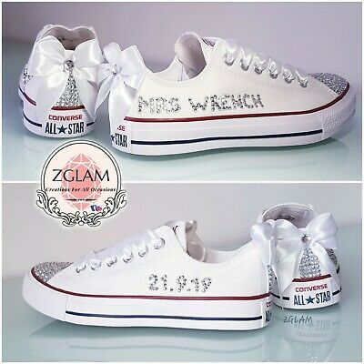 c384f971a8ef Personalised Crystal Bling Sparkle Converse Canvas Wedding Bridal Trainers  Shoes