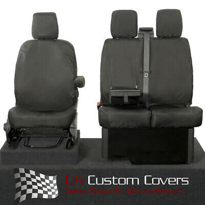 Ford Transit Van Mk8 2019+  Inc Tipper Tailored Front Seat Covers - Black 120