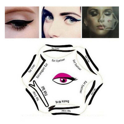 Amazing 6 in 1 Eyeliner Stencil Set Makeup Guide Quick Smoky Cat Eye Liner Tool