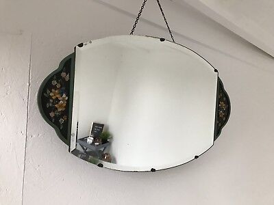 Barbola Mirror Vintage Frameless Wall Hanging Mirror Floral Design