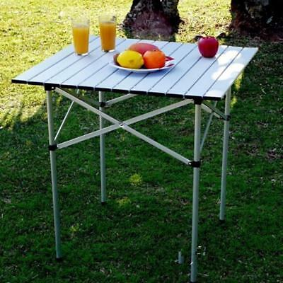 Portable Aluminum Roll Up Table Folding Camping Picnic Table w/ Bag 27x 27""