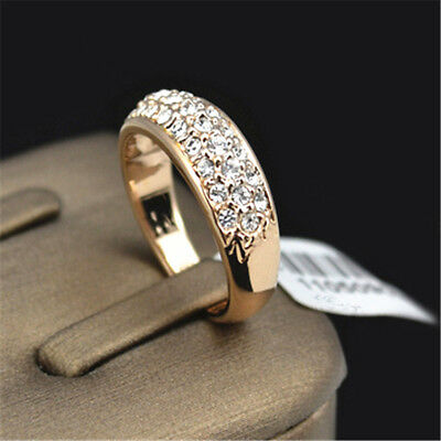Fashion Crystal Rhinestone Ring For Wedding Engagement Band Couples Jewelry Z