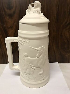 """Large Unicorn Stein 12"""" Tall Ceramic Bisque Ready To Paint"""