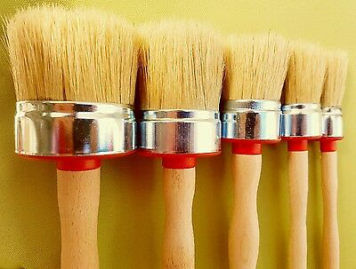 60 50,40,30,20 mm CHALK PAINT and  WAX pure bristle 5 ROUND PAINT  BRUSHES