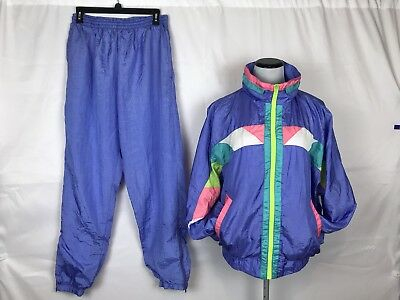 Vtg 80's Casual Isle Lilac And Neon Lined Track Suit Size L