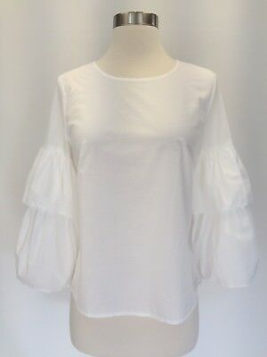 bf50c7c4147 New Madewell JCREW Tiered Ruffle Bell Sleeve Top Blouse Ivory White Sz XL  G8468