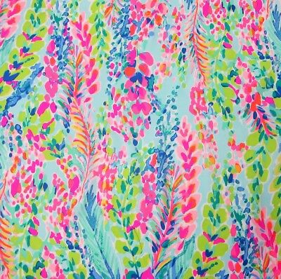 "Lilly Pulitzer Poplin Cotton Fabric Multi Catch the Wave 1 yard 36"" x 56"""