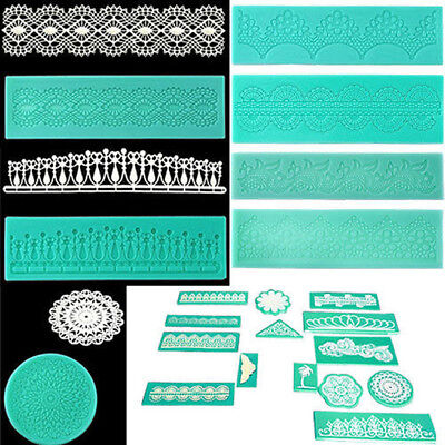 Silicone Lace Shaped Mold Sugar Craft Embossing Mould Fondant Cake Tools B#