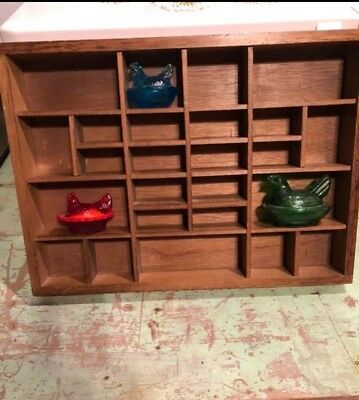 Vintage heavy wood shadow box 16 x 12 antique from Granny's Estate 25 holes!
