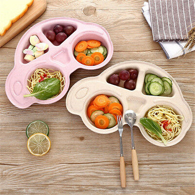 Uk_ Kids Dinner Plate Divided Dish Tray Dessert Baby Food Feeding Tableware Fadd