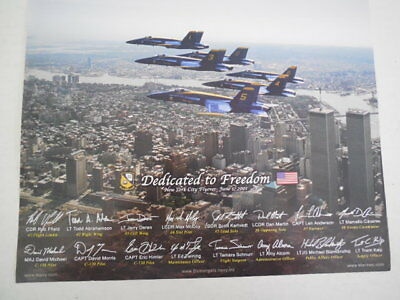 """Navy Blue Angels Poster 11"""" x 14"""" - Twin Towers NY City Flyover  - June 1, 2001"""