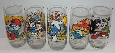 Vintage Smurf Collectible Glasses Set of 5