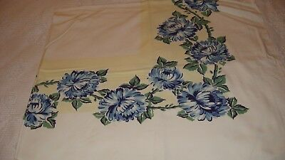 Vintage Mid-CenturyTablecloth Blue Green Floral on White
