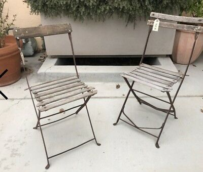 Pair Of Vintage French Wood And Metal Folding Chairs Bistro
