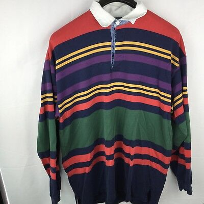 Ed Bauer Vintage Ls Rugby Shirt Long Sleeve Mens Xl Red Blue Yellow