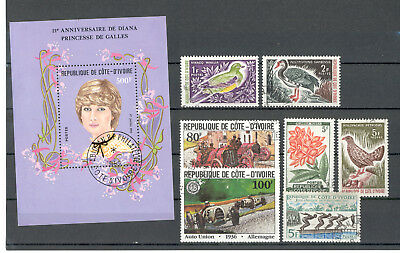Ivory Coast - Small Lot of Stamps and Souvenir Sheet used