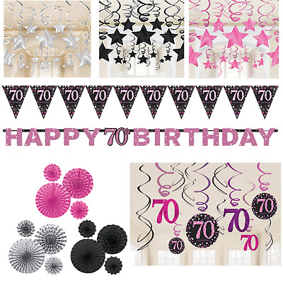 70th Birthday Decorations Black Pink Silver Banner Fans Bunting Swirls Stars