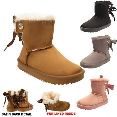 Girls Ankle Boots Children Kids Satin Bow Fur Lined Winter Snugg Shoes Size UK