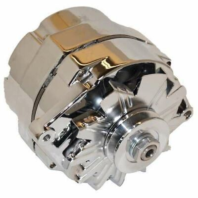 CHROME 105 AMP 1-Wire Alternator with Pulley - Used for converting 6 volt  to 12