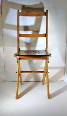 Vintage child's wood folding chair ~ doll or bear display ~ photography prop