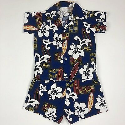 Vintage Boys Short Sleeve Button Up Shirt Shorts Outfit Blue Hawaiian Toddler 3