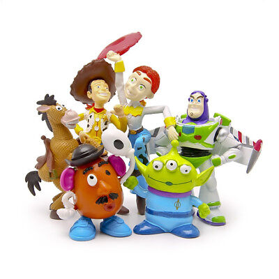 "6PCS/Set 2""-4"" Toy Story Party Buzz Lightyear Woody Jessie Green Man PVC Action"