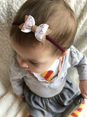 Harry Potter Gryffindor Inspired baby girl toddler headband hair bow