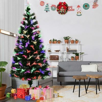Christmas Tree Xmas Colorado Spruce 3ft 5ft 6ft Pre-Lit With Fibre Optic Lights
